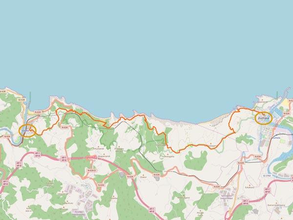 Camino del Norte - Zumaia nach Deba - Karte