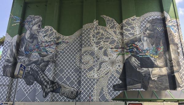 Camino del Norte - Bilbao - Wandgemälde unter einer Brücke