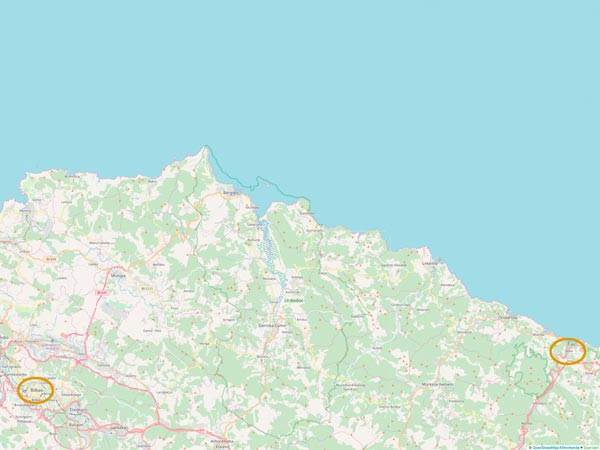 Camino del Norte - Deba nach Bibao - Karte