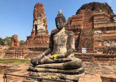 Ayutthaya Wat Mahathat - Buddha-Statue in hinteren Teil