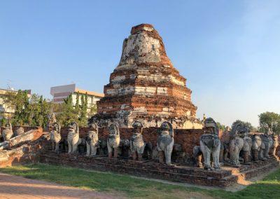 Ayutthaya Wat Thammikarat - Chedi mit Löwen