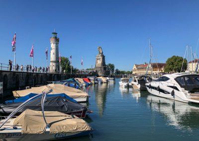 Lindau Hafen mit Löwe und Leuchtturm