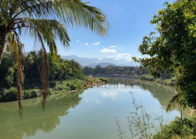 Bambusbrücke über den Nam Khan in Luang Prabang
