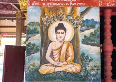 Vat Phonxay Luang Prabang - Gemälde einer Buddha-Figur