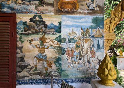 Vat Phonxay Luang Prabang - Gemälde an den Wänden
