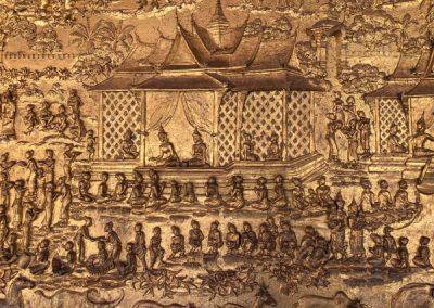 Wat May Souvannapoumaram Luang Prabang - Verzierte Wände im Eingangsbereich