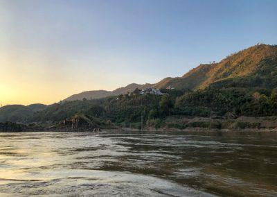 Sonnenuntergang am Mekong bei Pak Beng
